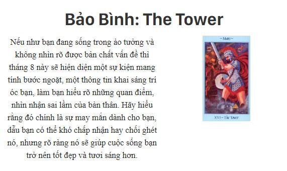 Bài tarot nói gì về cung hoàng đạoBảo Bình: The Tower