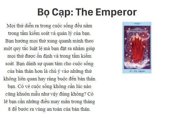 Bài tarot nói gì về cung hoàng đạoBọ Cạp: The Emperor
