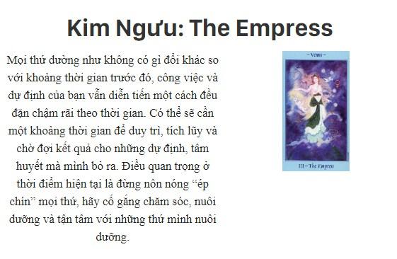 Bài tarot nói gì về cung hoàng đạoKim Ngưu: The Empress