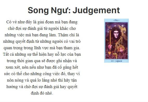 Bài tarot nói gì về cung hoàng đạoSong Ngư: Judgement