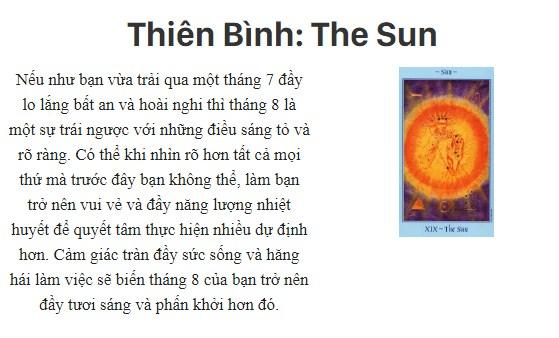 Bài tarot nói gì về cung hoàng đạoThiên Bình: The Sun