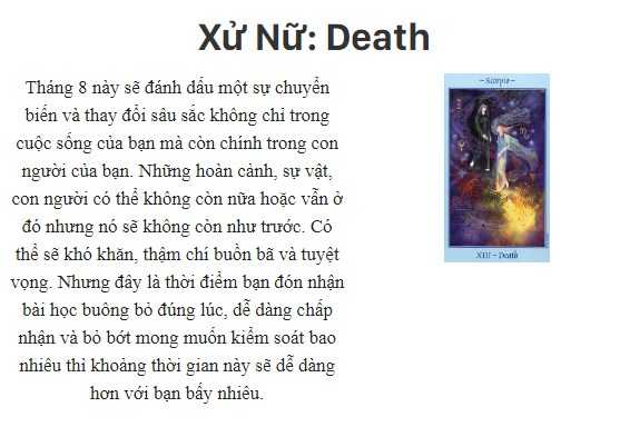 Bài tarot nói gì về cung hoàng đạoXử Nữ: Death