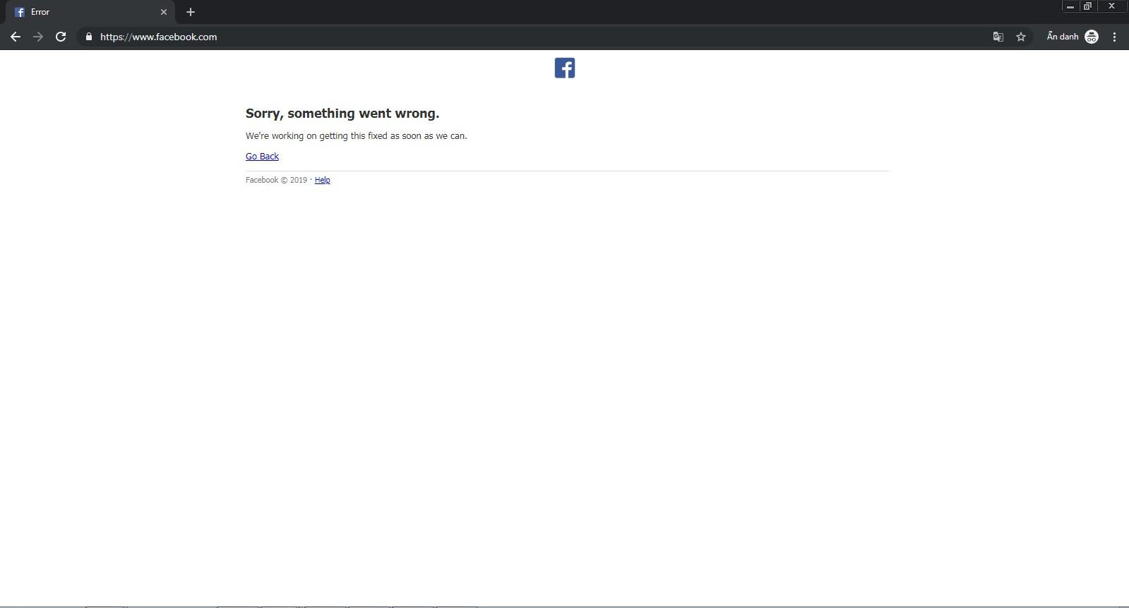 Lỗi Facebook không vào được