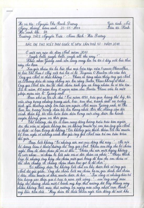 Viết thư UPU lần thứ 48 năm 2019